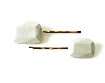 Concrete Gem Hair Pins; Gray Concrete Bobby Pins