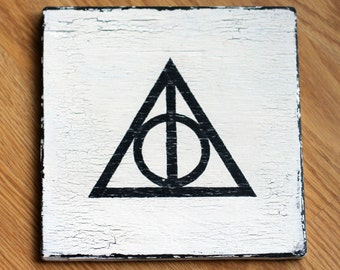 Harry Potter Hand Painted Wooden Sign - Deathly Hallows Symbol