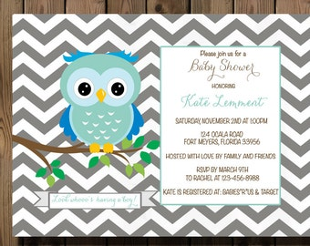 Baby Shower Boy Owl Chevron Invitation Printable Digital File_14