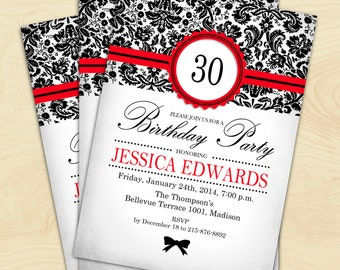 Red Black Damask Birthday Party Invitation / Digital Printable Invitation / Customized