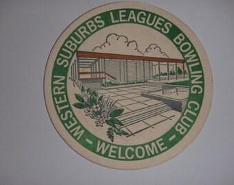 Vintage Western Suburbs Bowling Club drink coaster. Used