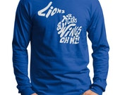 Detroit Lions, Tigers, Wings OH MI! Michigan Outline Screen Print Long Sleeve Shirt Royal Shirt, Sizes S-5XL Great gift for any Michigander