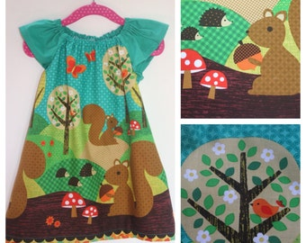 Forest theme Peasant Dress 100% Cotton
