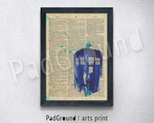 Doctor Who Poster, TARDIS, Dictionary, Canvas Print, Personalized Art Print, Cloth Art Print , Natural Linen Print Art with Frame -DW02