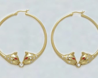 Cat Hoop Earrings w/ Crystals