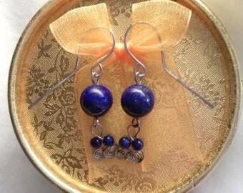 Hypoallergenic surgical steel Lappislasuli gems earrings 14 mm AAA.