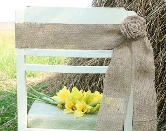 Burlap Chair, Rustic Wedding, Rustic wedding Chair Decorations,Burlap Chair Sash, Burlap Wedding Decorations
