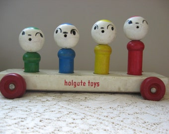 Holgate Wood Pull Toy with Squeaking Peg Figures, Collectable Vintage