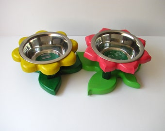 BROMELIADS II S - raised cat bowl stand - elevated dog feeder - dog bowl stand - dog bowl holder - feeding station - raised pet dishes