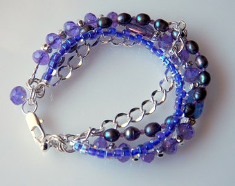 4 Strand Purple Glass and Pearl Bracelet with Silver Filled Findings