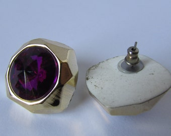 Vintage earring- Purple gold stud earrings- 90s Jewelry