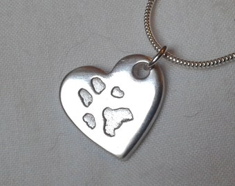 PAWPRINT NECKLACE Personalised Silver Paw Print Jewellery Chain Pendant Charm