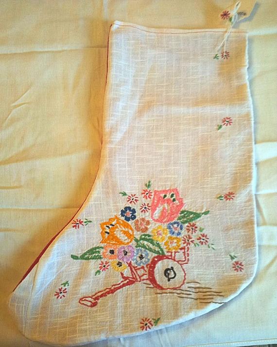 SALE  Vintage Fabric Christmas Stocking  SALE!!  was 20  now 14  SALEE