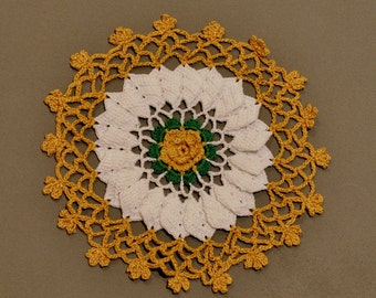 Lacy Gold-and-White Doily