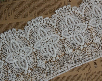 White Floral Lace Trim Embroidery Hollowed Out Lace Trim 6.29 Inches Wide 1 Yard L0190