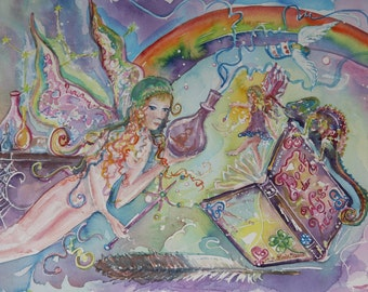 Alchemical art card Fairy * Map Elves/magic book/shuttle/wand/Laboratory bottles/Chameleon/Buddha/Spring mother earth