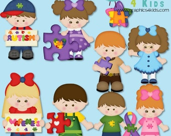 Autism Awareness Digital Clipart - Clip art for scrapbooking, party invitations - Instant Download Clipart Commercial Use