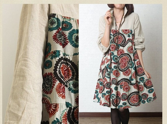 floral dress loose dress linen dress long sleeve dress casual loose dress large size cotton tops cotton blouse plus size dress linen blouse