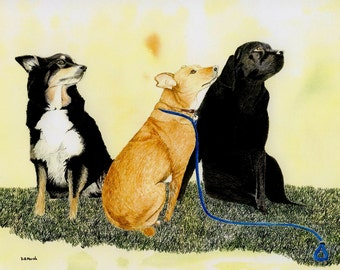 """Greetings card: """"Walkies"""" -  dog card, dog walking, Labrador, border collie, crossbreed, card for dog lover, from a painting by Dave Marsh"""