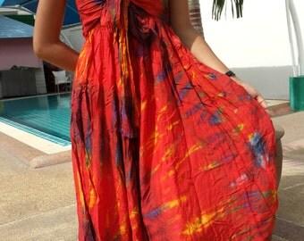 TIE DYE Dress -Gypsy-Boho-Red