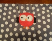 Red Owl with Gray and White Polka Dots (1 Chair Pocket - You Pick the Wording)
