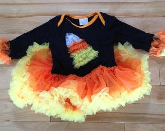 Cutest Lil Candy Corn Tutu Top Sz: 6-12mos