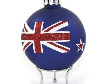 Handpainted NZ Flag Glass Bauble