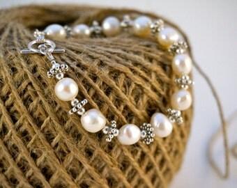 Fresh Water Pearl & Silver Bracelet, Wedding Bridal Gift