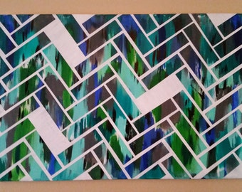 Abstract Chevron Canvas Painting