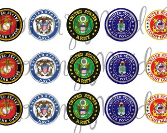 "4x6 Digital bottle cap sheet 1"" one inch images ~ United States Miltary ~ USMC ARMY NAVY Air Force Coast Guard Marines Instant Download"