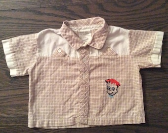 Vintage Baby Boy Top by Smart Togs with Embroidered Red Headed Boy