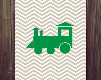 INSTANT DOWNLOAD Chevron Train Children's Art Print 8x10