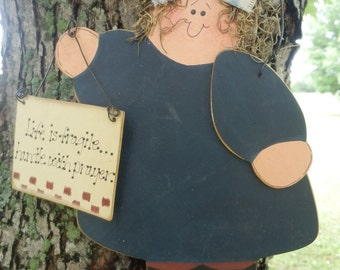 Life is Fragile Handle with Prayer, Wood Sign, Decorative Wall Hanging, Tole Painting, Hand painted wood Decoration, Wood girl holding sign