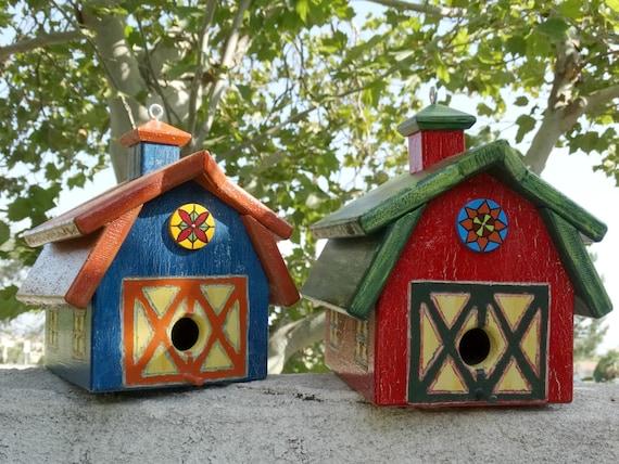 Barn Bird Abode - Painted Handmade Wooden Bird House