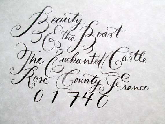 Calligraphy Wedding Envelope Addressing Beauty And The Beast Font Sold By AlizasInklings