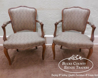 Custom Quality French Louis XV Style Pair of Open Arm Chairs Fauteuils