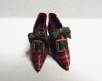 Handmade Miniature Red Tartan Dolls House Shoes