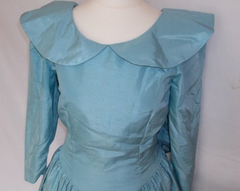 Bridesmaids dress 1980s Dress maker made Silk Taffeta Duck Egg Blue Dress UK 8 Size Small