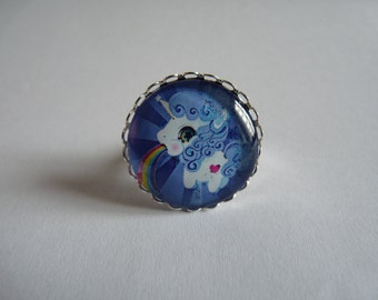 Adjustable ring cabochon 25mm unicorn