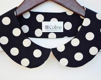 Polka Dot Detachable Peter Pan Collar Necklace / Black White Polka Dots