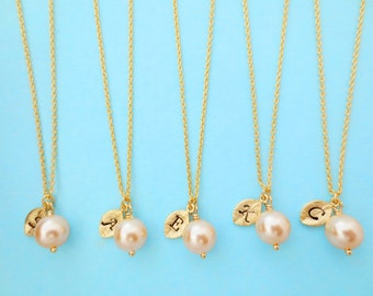 Set of 6, Personalized, Letter, Initial, Peach, Pearl, Gold, Necklace, Sets, Wedding, Bridesmaid, Gift, Jewelry