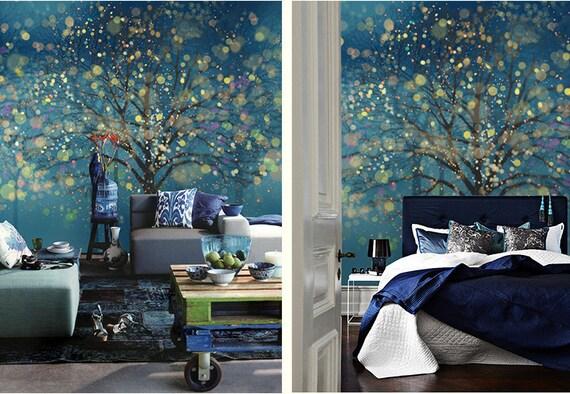 Fantasy forest wallpaper wall mural art bedroom midnight dark for Paredes focales