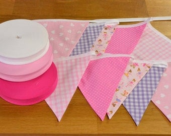 Ballet themed double sided fabric bunting, 10, 15 or 20 flags.