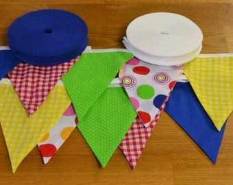 Bright coloured bunting in blue, red, green and yellow, double sided fabric bunting, 10, 15 or 20 flags.