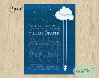 Dreamy Bridal Shower Invitation - Bridal Shower, Wedding Shower, Invitation, Invites, Dreamy, Whimsical, Navy, Swing, Shower, Stars