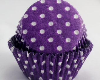 Purple Polka Dot Cupcake Papers