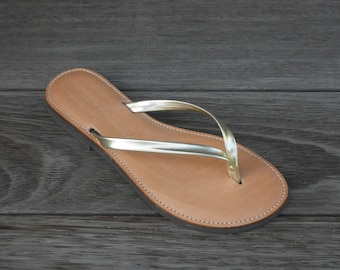 SALE SALE SALE Gold Leather Thongs or flip flops
