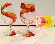 Set of 2 Hand Painted Wine Glasses - Masai print - made to order
