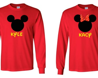 Mickey Mouse Minnie Mouse Long Sleeve Vacation T-Shirt  Disney Inspired Birthday Family Custom T-Shirt Disney Family Vacation T-Shirt