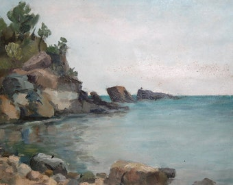 1963 Impressionist art oil painting seascape signed